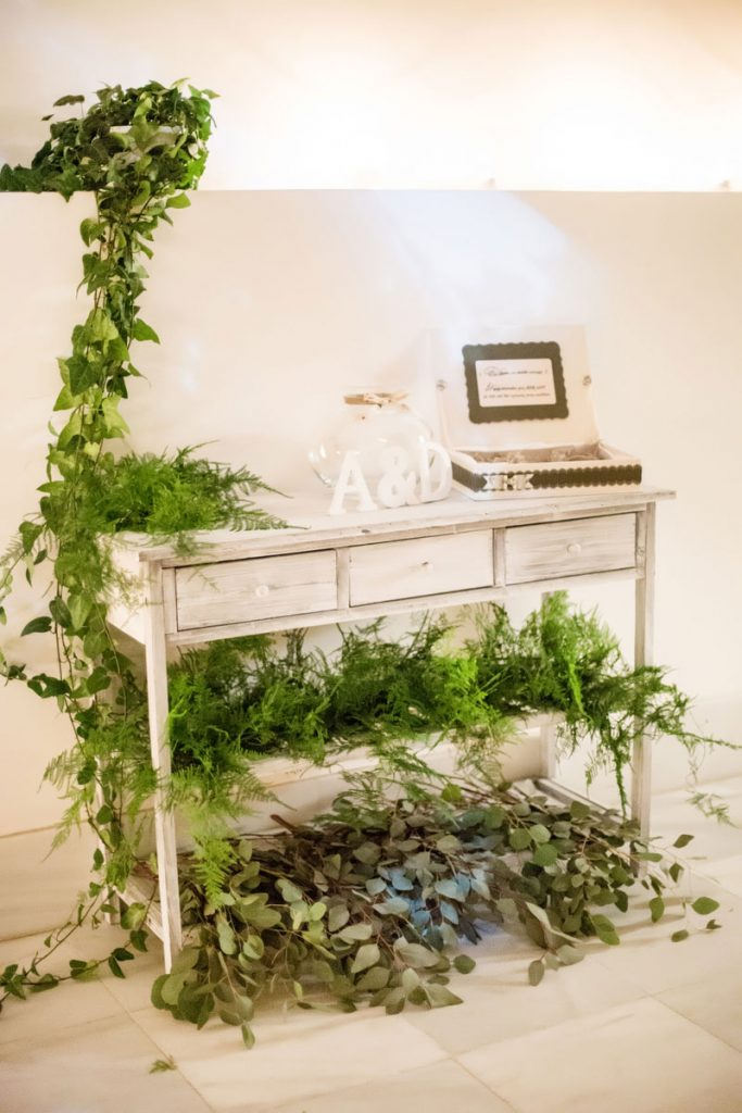 Decoración floral verdes elegante clásica
