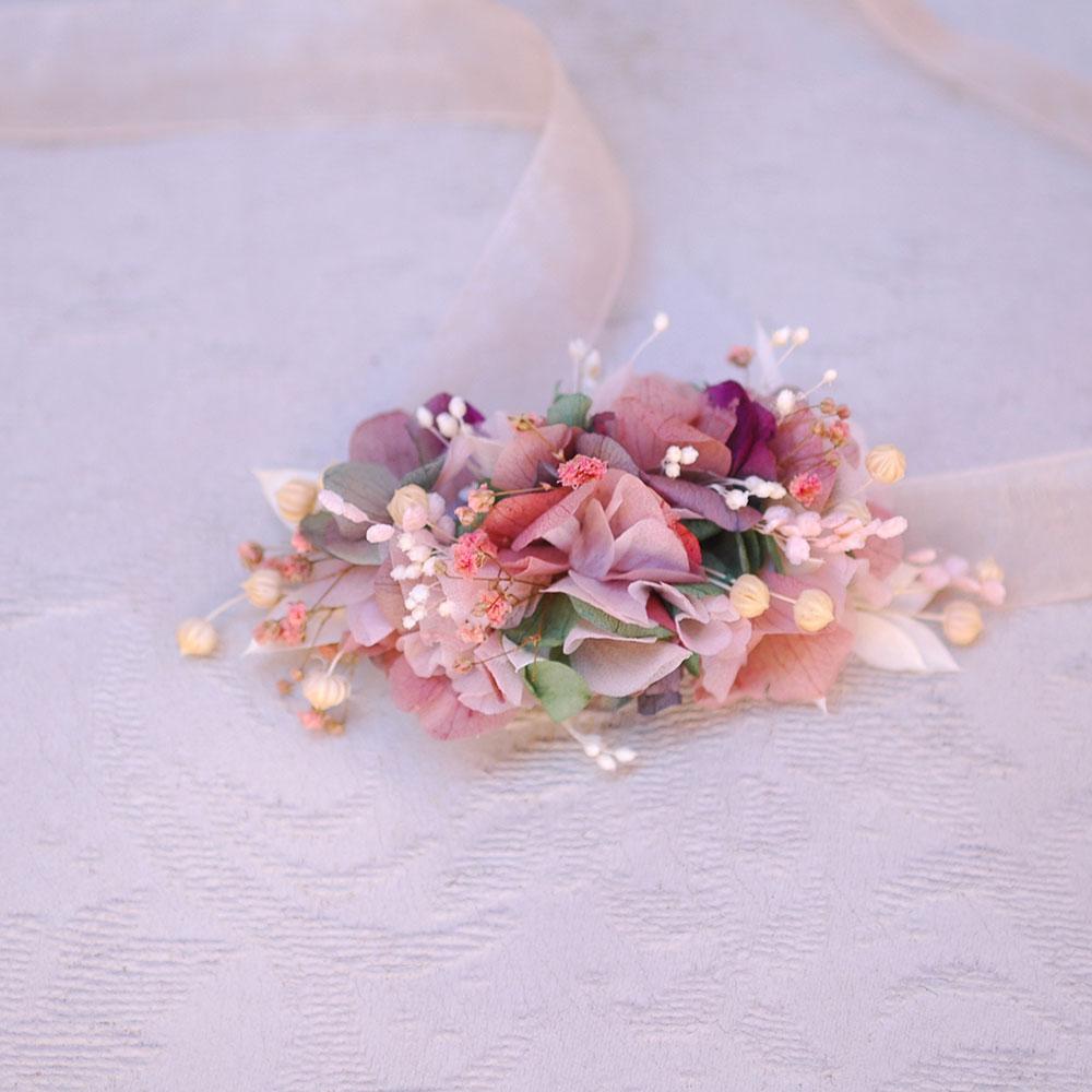 Pulsera de flores `preservadas bodas